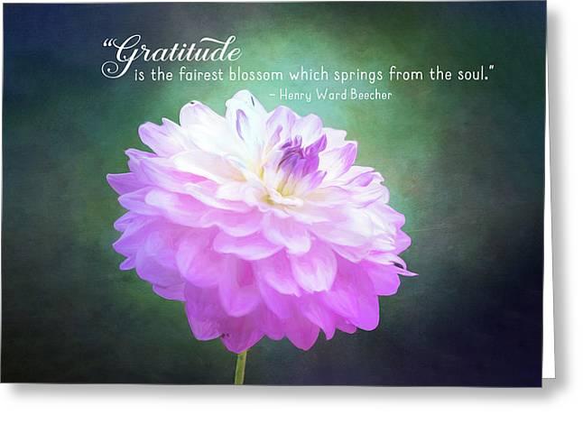 Pink Dahlia Gratitude Artwork Greeting Card