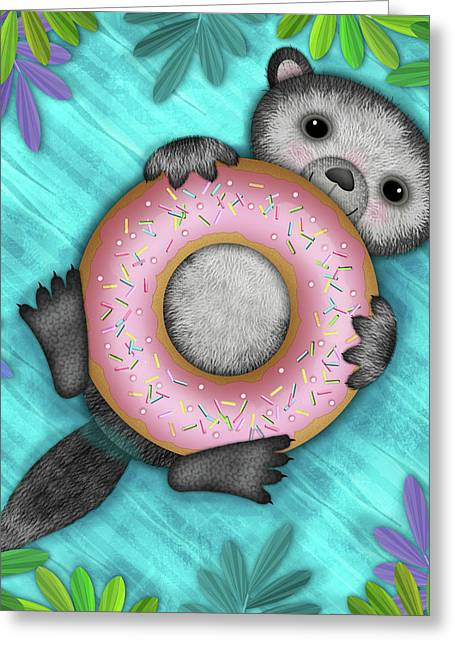 O Is For Otter With An O So Delicious Doughnut Greeting Card