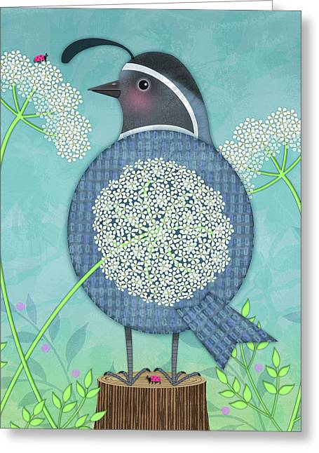 Q Is For Quail And Queen Anne's Lace Greeting Card