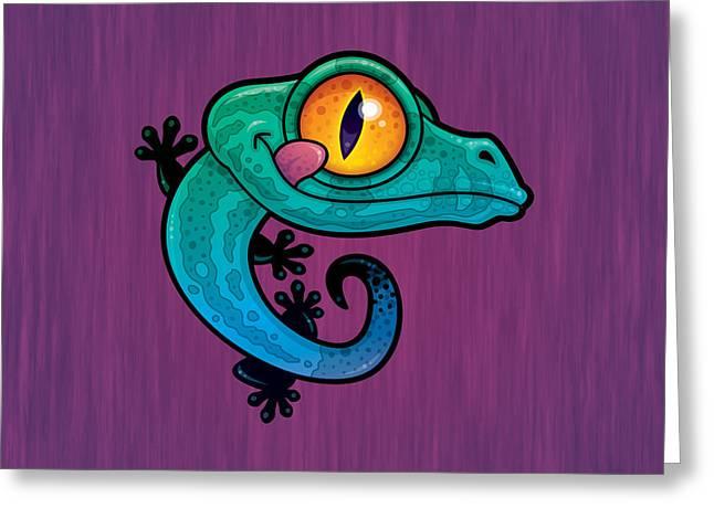 Cute Colorful Cartoon Gecko Greeting Card