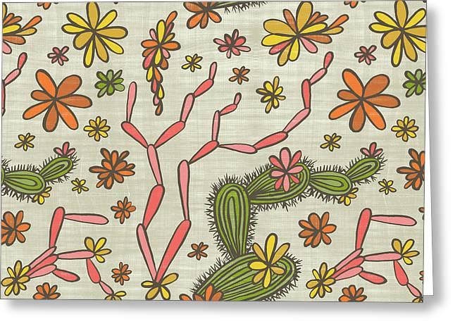Flowering Cacti Elements Greeting Card