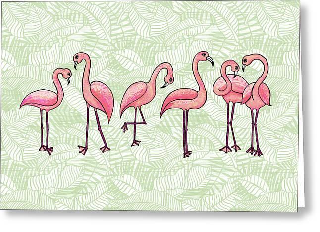 Tropical Flamingos Greeting Card