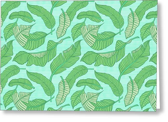 Banana Leaf Pattern Blue Greeting Card