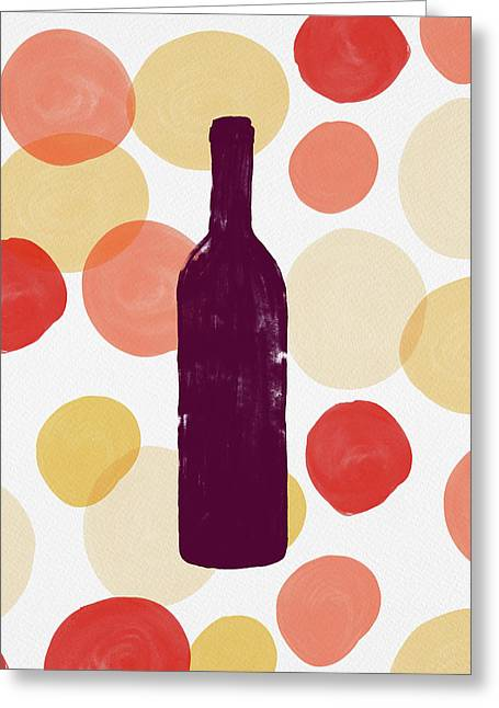 Bold Modern Wine Bottle Art Greeting Card
