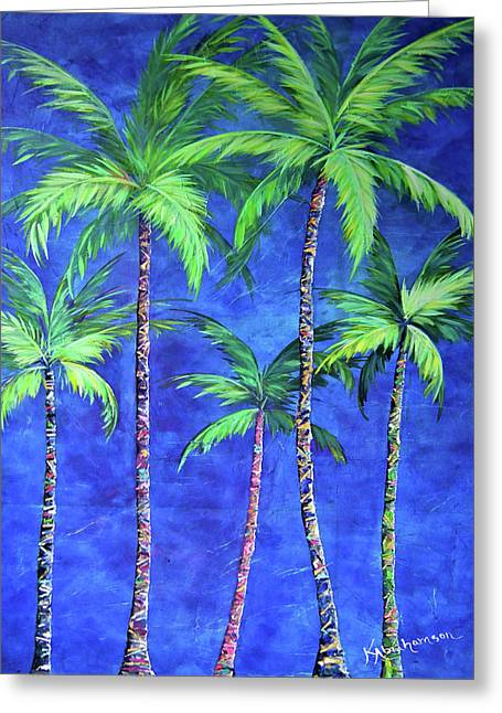 Colorful Family Of Five Palms Greeting Card