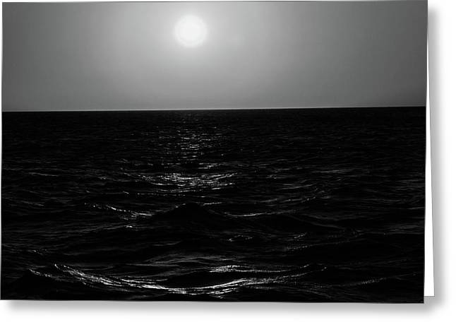 Aruba Sunset In Black And White Greeting Card