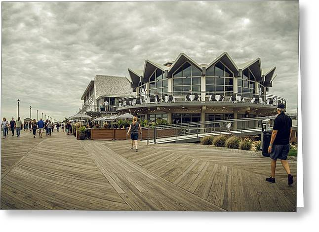 Greeting Card featuring the photograph Asbury Park Boardwalk Looking South by Steve Stanger