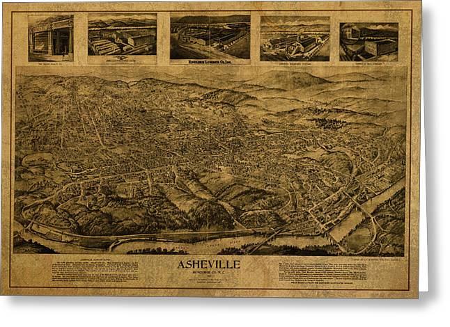 Asheville North Carolina Vintage City Street Map Birds Eye View 1912 Greeting Card