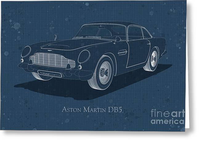 Aston Martin Db5 - Front View - Stained Blueprint Greeting Card