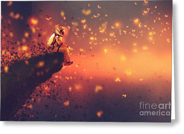 Astronaut Sitting On Cliffs Edge And Greeting Card