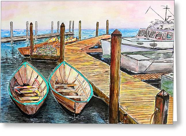 At The Dock In Gloucester Massachusetts Greeting Card