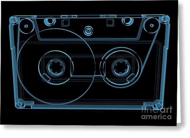 Audio Cassette Tape 3d Xray Blue Greeting Card
