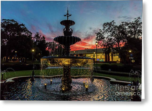 Augusta University Fountain Sunset Ga Greeting Card