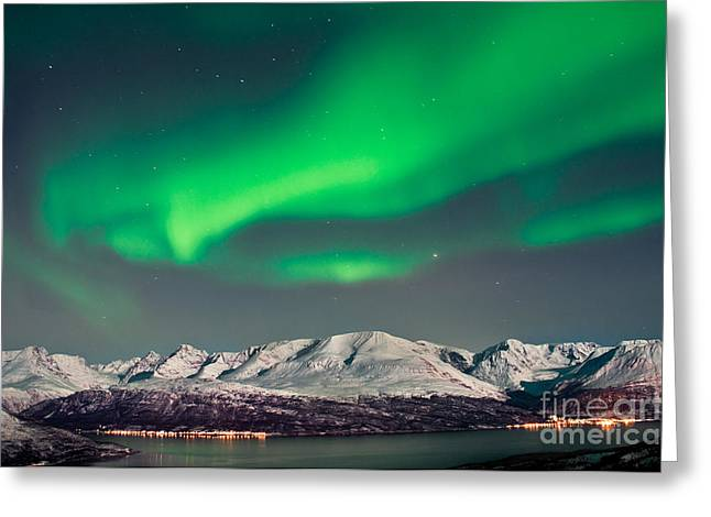 Aurora Above Fjords In Norway Greeting Card