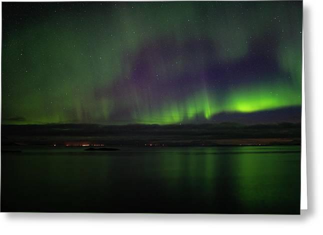 Aurora Borealis Reflecting At The Sea Surface Greeting Card