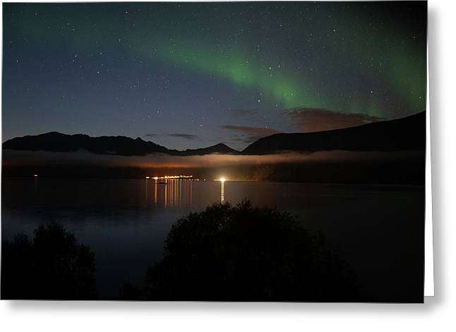 Aurora Northern Polar Light In Night Sky Over Northern Norway Greeting Card