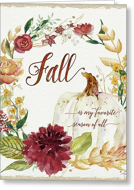 Autumn Celebration 2 - Fall Is My Favorite Season Of All White Pumpkin Floral Wreath  Greeting Card