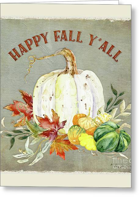 Autumn Celebration - 4 Happy Fall Y'all White Pumpkin Fall Leaves Gourds Greeting Card