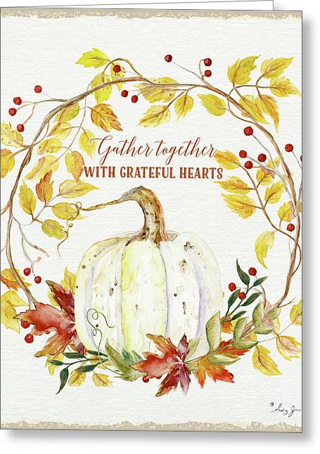 Autumn Celebration 1 - Gather Together With Grateful Hearts White Pumpkin Fall Leaves Red Berries Greeting Card