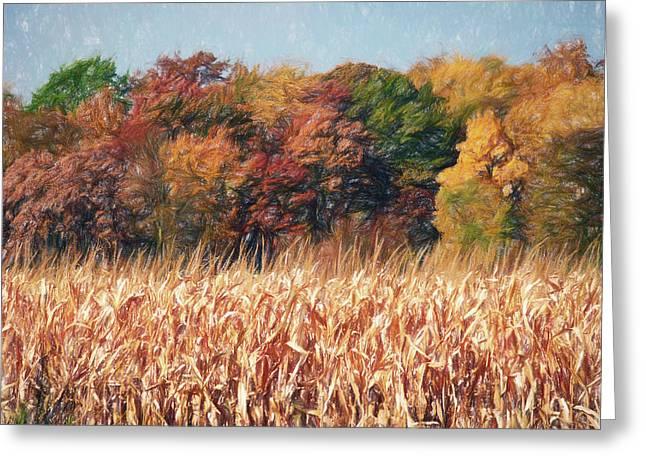 Autumn Cornfield Greeting Card