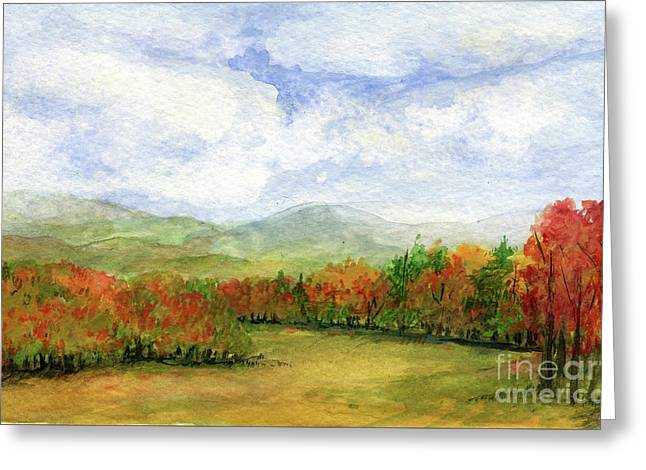 Autumn Day Watercolor Vermont Landscape Greeting Card