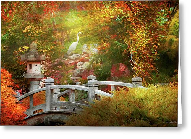 Greeting Card featuring the photograph Autumn - Finding Inner Peace by Mike Savad