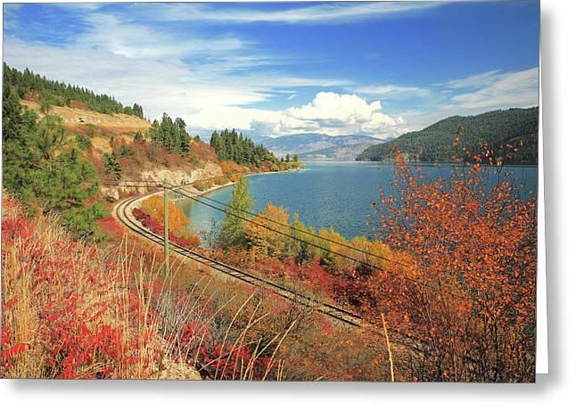 Autumn In Oyama And Kalamalka Lake Greeting Card