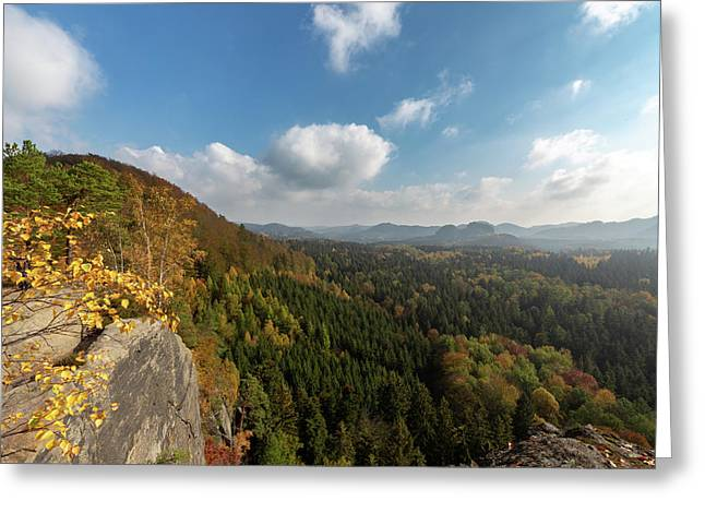 Greeting Card featuring the photograph Autumn In The Elbe Sandstone Mountains by Andreas Levi