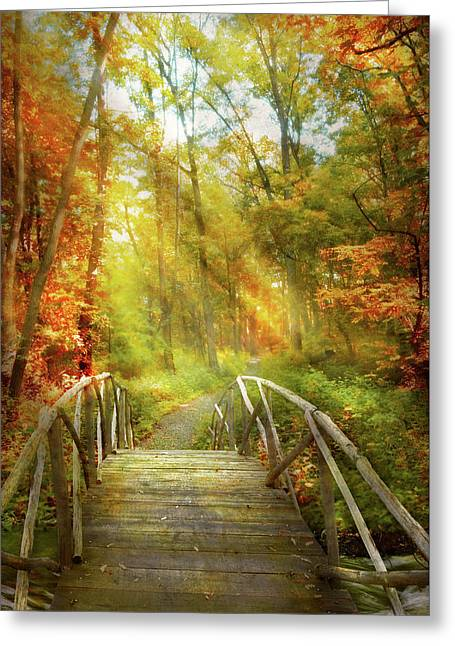 Greeting Card featuring the photograph Autumn - Nice Day For A Walk by Mike Savad