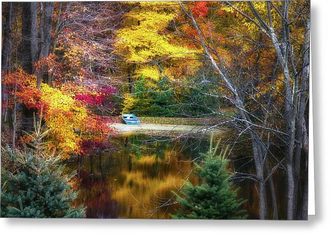 Autumn Pond With Rowboat Greeting Card