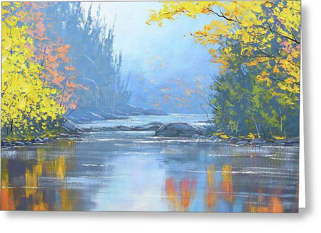 Autumn River Trees Greeting Card