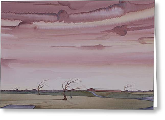 Greeting Card featuring the painting Autumn Skies On The Kirby Farm by Scott Kirby