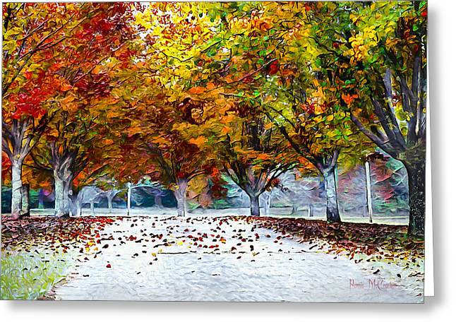 Greeting Card featuring the digital art Autumn Trees by Pennie McCracken