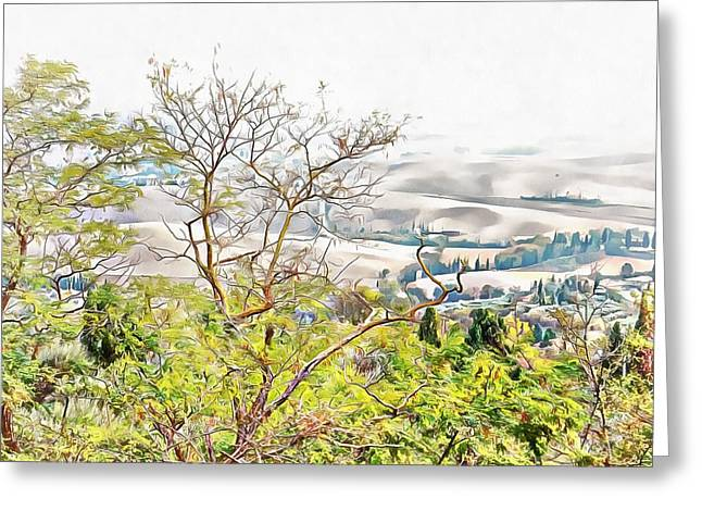 Greeting Card featuring the photograph Autumn View Pienza by Dorothy Berry-Lound