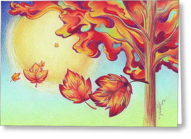 Autumn Wind And Leaves Greeting Card