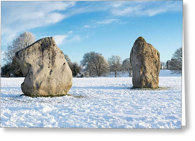 Avebury Stone Circle In The Snow Panoramic Greeting Card by Tim Gainey
