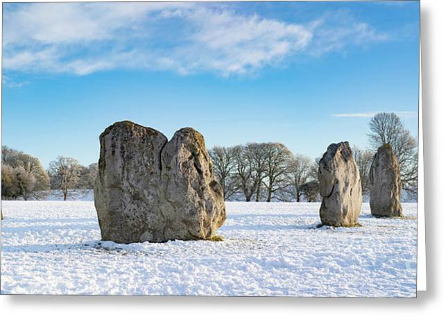 Avebury Stone Circle In The Winter Snow Greeting Card by Tim Gainey