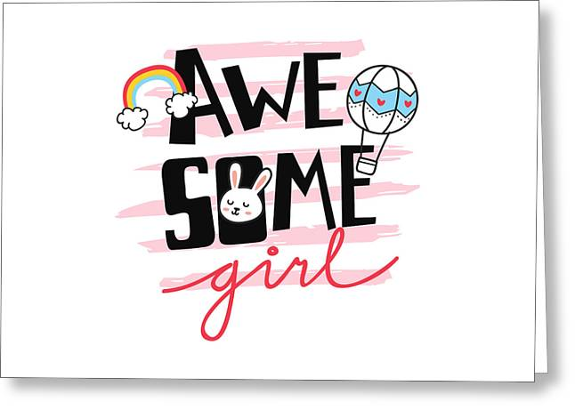 Awesome Girl - Baby Room Nursery Art Poster Print Greeting Card
