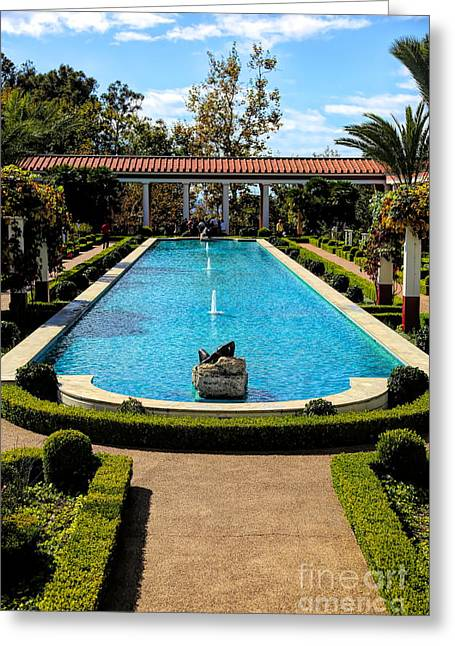 Awesome View Getty Villa Pool  Greeting Card