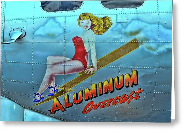 B - 17 Aluminum Overcast Pin-up Greeting Card