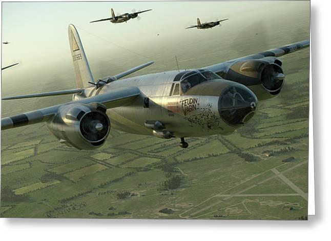 B-26 Feudin Wagin Greeting Card