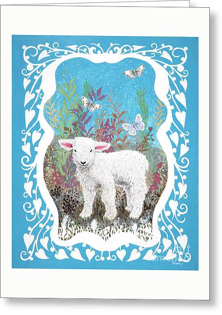 Baby Lamb With White Butterflies Greeting Card