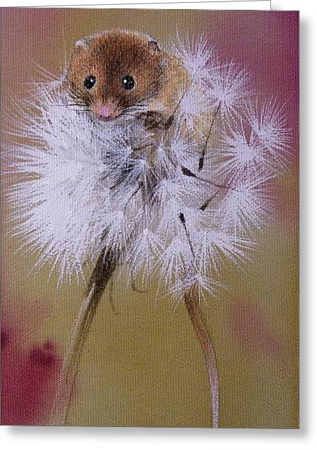 Baby Mouse On Dandelion Greeting Card