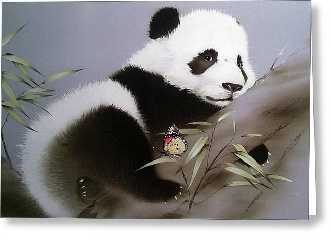 Baby Panda And Butterfly Greeting Card