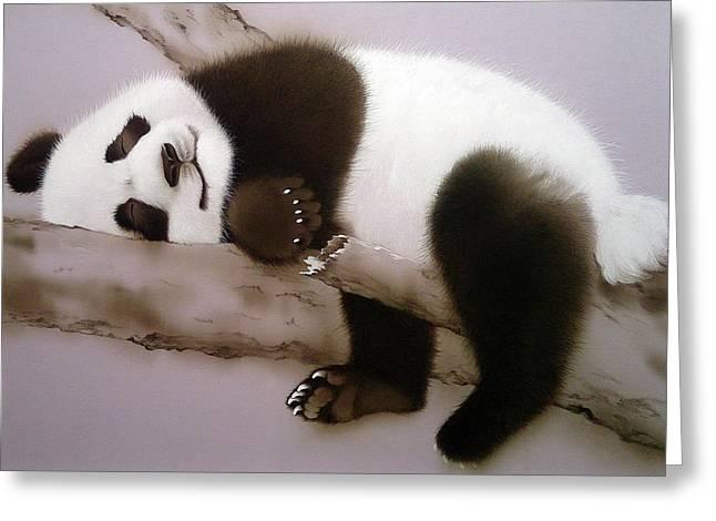 Baby Panda In Sweet Dream Greeting Card