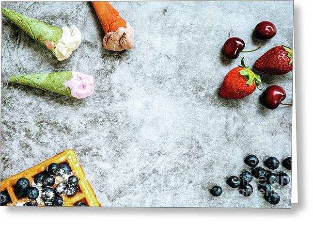 Background Of Tasty And Sweet Foods With Red Fruits And Waffles, Greeting Card