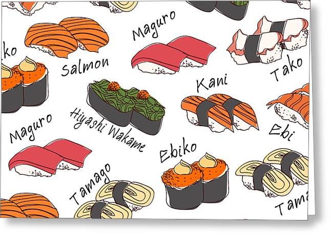 Background Sushi Set, Vector Greeting Card