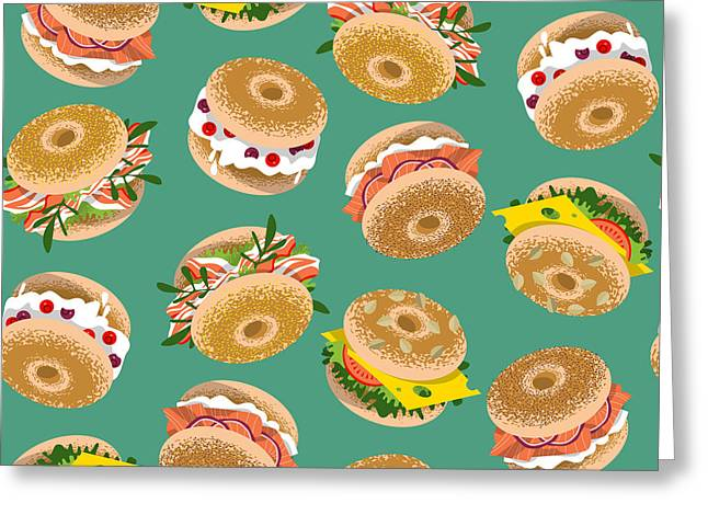 Bagels With Various Topping. Seamless Greeting Card