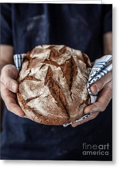 Baker Man Holding Rustic Organic Loaf Greeting Card
