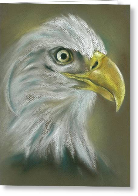 Greeting Card featuring the pastel Bald Eagle With A Keen Eye by MM Anderson